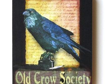 Wood Art Block, Black Crow, Blackbird, Rustic Art, Farmhouse Style, Wall Hanging, Shelf Decor