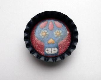 Cute Navy Bottlecap Magnet with Sugar Skull Design