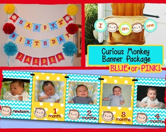 Curious George First Birthday Banner Package DOWNLOAD / Curious George Birthday Party Package - Choose Your Colors! File to PRINT DIY