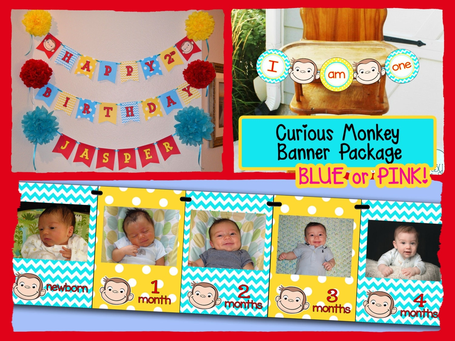 curious george first birthday banner package download