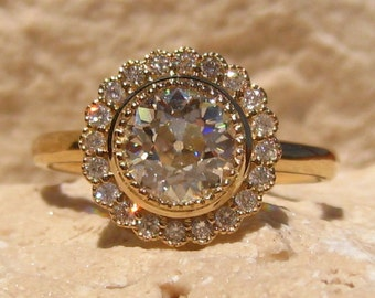 Old European Cut OEC Moissanite Yellow Gold Daisy Engagement Ring, Moissanite Engagement Ring
