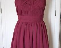 Red Purple Short Strapless Bridesmaid Dress Chiffon Red Bridesmaid Dress-Custom Dress