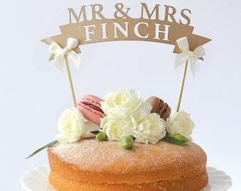 Rustic Paper Wedding Cake Toppers