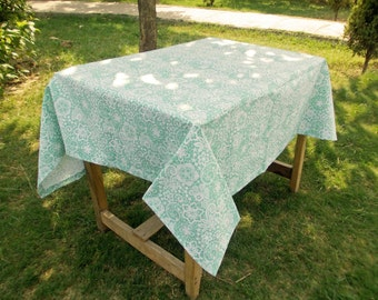 "Mint table cloth, lace print, 1"" hem border, 100% cotton table cloth, sizes available"