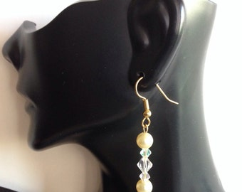Ecru Pearl and Faceted Iridescent Crystal Dangle Earrings