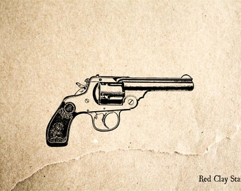 Pistol #2 Rubber Stamp - 2 x 2 inches