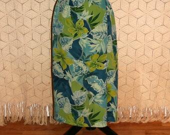 Silk Wrap Skirt Maxi Petite Summer Tropical Floral Leaf Blue Green Print Skirt Womens Skirts Long Silk Skirt Small Medium Womens Clothing