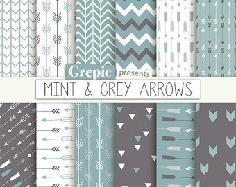 "Arrows digital paper: ""MINT & GREY ARROWS"" backgrounds with arrow patterns, tribal archery, triangles backgrounds in mint and grey colors"