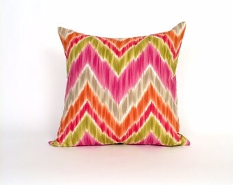 Unique Ikat Waves of Pink, Green & Orange  Throw Pillow, Family Room or Bedroom Toss Pillow, Accent Pillow, Designer Bed Pillow.P-7-145
