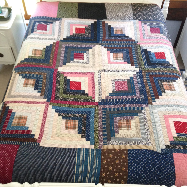 Barn Raising Quilt Pattern Free Knitting : Log cabin variation quilt barn raising handmade full size