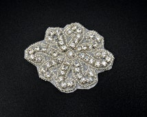Small Rhinestone applique, crystal Applique for flower girl, garter, Headpieces, Gowns, Costumes, DIY weddings, hair clips - RAY26