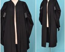 Vintage Graduation Gown, Black ceremonial / Acedemic robe, University / School house coat, 1930s / 40s   University of London, Northam
