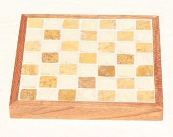 Tan and Cream Marble Mosaic Coasters-Set of 2
