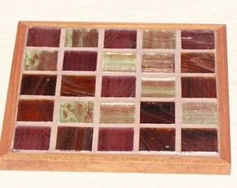 Brown Glass Mosaic Coasters-Set of 4
