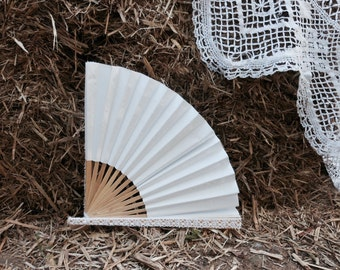 WEDDING Hand Fan | Birch |  Lace Trim  Hemp Tie | Oriental Style Bridal Accessory | Bridal