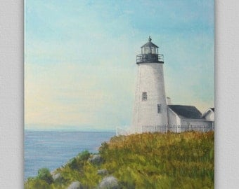 Lighthouse original painting, Pemaquid Point Lighthouse, Maine Art, seascape painting, nautical painting, 16x20 inch accent painting