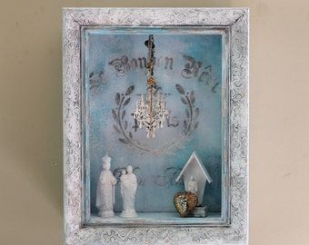 FRENCH Wooden Shadow Box Ornate Chandelier Display Shelf Distressed  Hand Painted Upcycled Home Decor