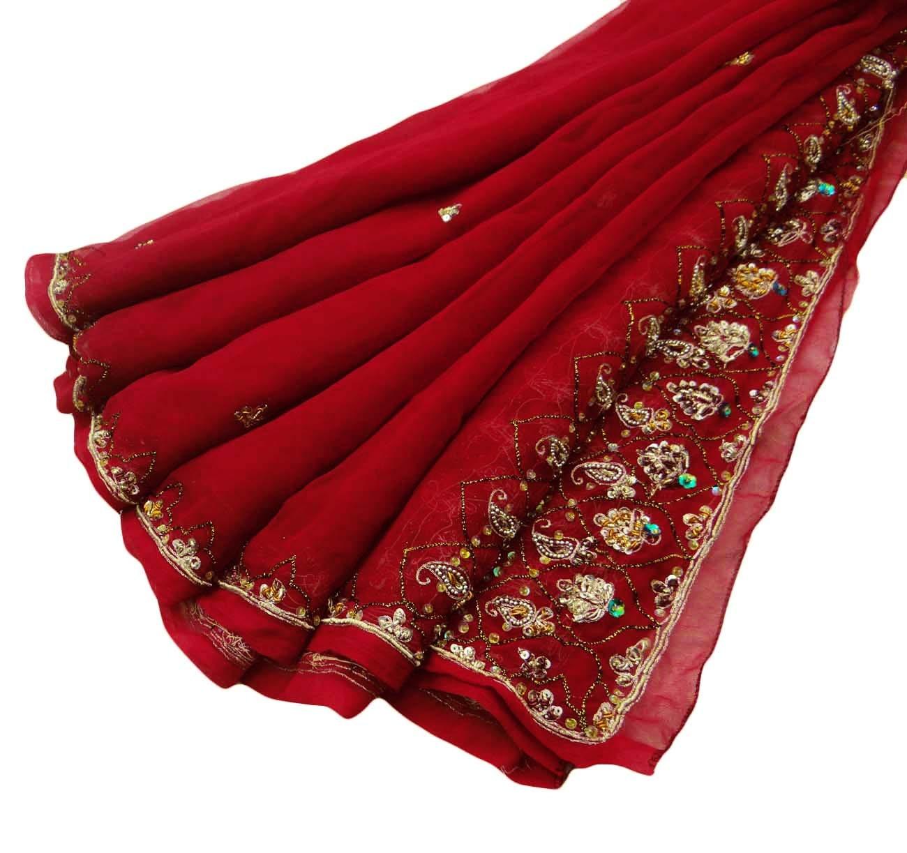 georgette indian dupatta beaded fabric by vintagehaat