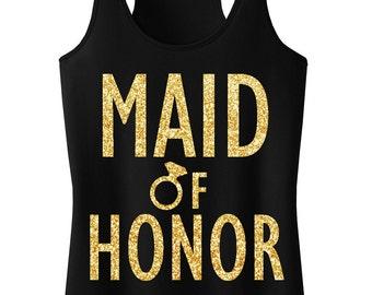 MAID of HONOR GLITTER Tank Top Black & Gold, Maid of Honor Tank, Wedding tank top, Maid of Honor shirt, wedding