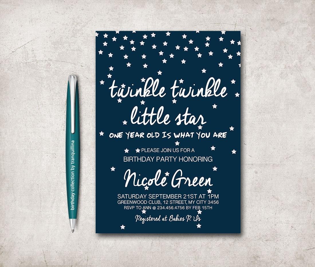 Twinkle Twinkle Little Star Birthday Invitation Printable