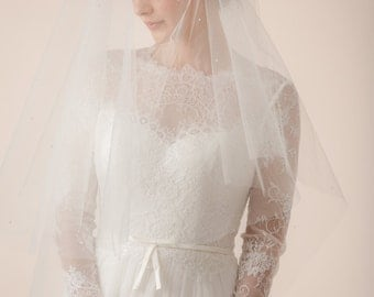 Wedding veil, tear drop veil with blusher, Bridal fingertip length Veil with blusher -- Style 317
