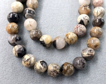 Silver Leaf Jasper Round Smooth Beads   15.5""