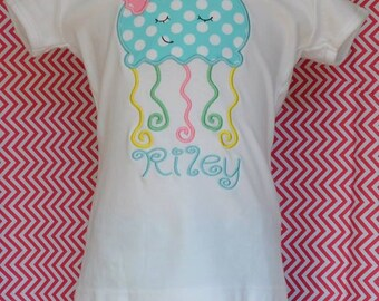 Personalized JellyFish Applique Shirt or Onesie Girl