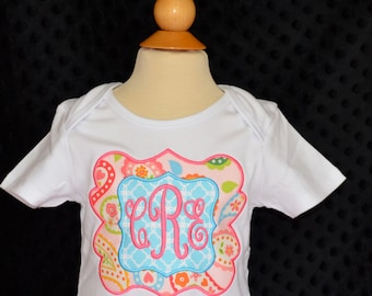 Personalized Floral Mongram Patch Frame Applique Shirt or Onesie Girl