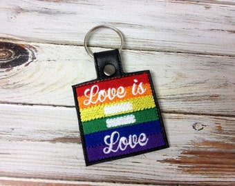 LOVE is LOVE - Equality - In The Hoop - Snap/Rivet Key Fob - DIGITAL Embroidery Design