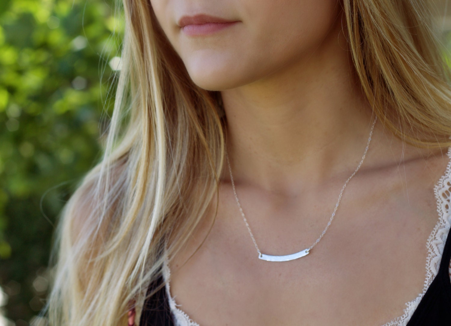 silver bar necklace, curved bar necklace, dainty layering jewelry, hammered arc necklace, SA100