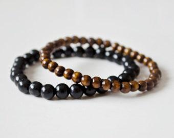 Set of 2 Wooden Beads Bracelet, Natural Wooden Beads Bracelet, Friendship Bracelets, Couple Bracelets
