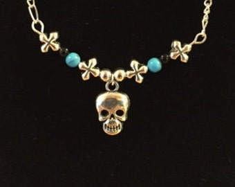 Skull Necklace with Turquoise & Black Beads