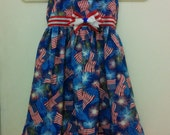 Handmade Size 4 T Patriotic 4th of July Sundress with lots of USA Flags