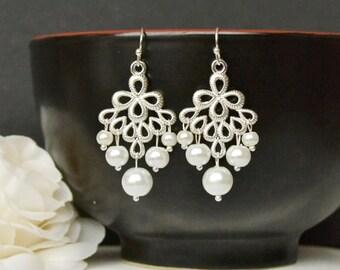 Pearl bridal earring   Etsy