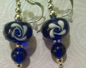 Blue and White Glass Floral Earrings Item No. 129