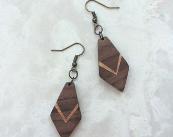 Royal - Wood Earrings Salvaged Black Walnut Eco-Friendly - dangle with gold painted lines