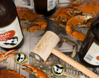 Maryland Pride Kitchen Utensil Crab Mallet Bottle Opener with Stainless Steel and Reclaimed Wood
