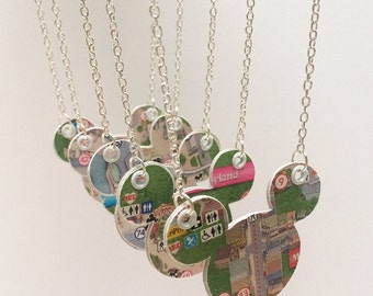Disney jewelry, Paper necklace, Disney Park map, Disney wedding, upcycled jewelry, bridesmaid gift, first anniversary gift, FE gift