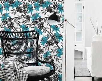 Peel and stick Self-adhesive vinyl Wallpaper wall sticker - Lily pattern C045