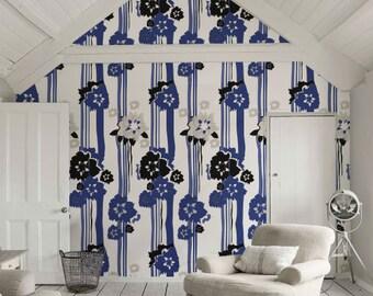 Removable flower self-adhesive vinyl Wallpaper wall decal -  Flower pattern wallpaper C062