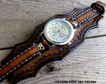 Men's Leather Watch Cuff, Leather Bracelet Watch, Steampunk Leather wrist watch, Antique Brown Leather watch strap