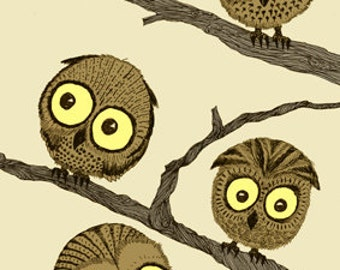 Owls on Branches Greeting Card