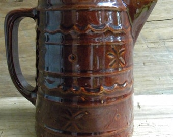 Vintage Marcrest USA Pottery Brown Daisy Dot 6 Inch Pitcher
