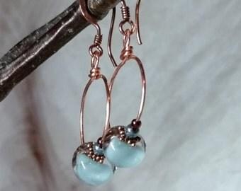 Lampwork Glass Teardrops, Delicate, Uniquely Interseting Earrings