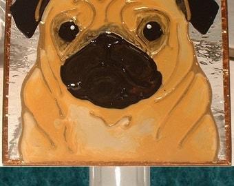 Pug Gift Night Light or Pug Ornament Stained Glass Pug Memorial Wall Decor, Pug Art Wall Stuff Pug Dog Decor Pug Nursery Gift for Pug Lover