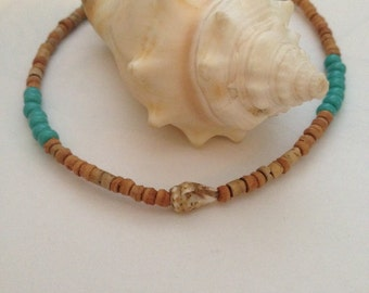 Beachy Surfer Natural Turquoise Beaded Shell Anklet