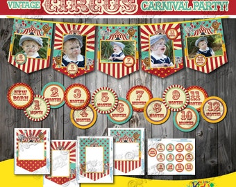 Instant Download Circus Birthday party Photo banner with 12 months sticker, First Birthday Party, 1st Birthday, Circus Decoration Banner