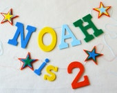 "ADD ON Item: ""is Number"" with Felt Letter and Star Banner / Birthday Superhero Party / Custom Baby Name Banner / 2-3"" Letters 4"" Number"