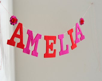 "Custom Uppercase Felt Letters w/ Felt Flowers / Baby Name Banner Shower Smash Cake Prop Nursery Decor / Other Colors Options / 4"" Uppers"