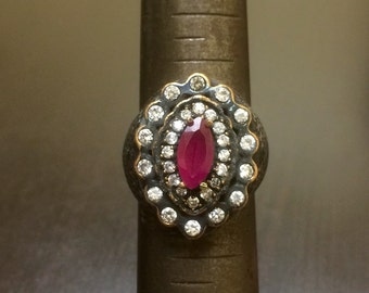 Art Deco Ruby Ring - Victorian Ruby Ring - Marquise Ruby Ring - Handmade Victorian Ring - Ruby Ring - Halo Ruby Ring - Sterling Silver Ring
